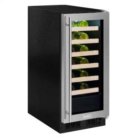 "15"" High Efficiency Single Zone Wine Cellar - Smooth Black Frame, Glass Door - Left Hinge, Black Designer Handle"