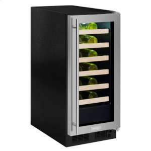 """Marvel15"""" High Efficiency Single Zone Wine Cellar - Panel-Ready Framed Glass Door - Integrated Left Hinge (handle not included)*"""