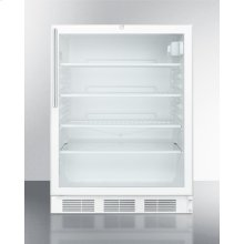 ADA Compliant Commercially Listed Built-in Undercounter Glass Door All-refrigerator With White Cabinet, Thin Handle, and Front Lock