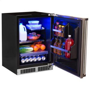 """Marvel24"""" All Refrigerator with Drawer Storage - Solid Stainless Door With Lock - Integrated Right Hinge, Professional Handle"""