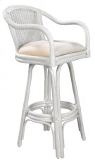 "Key Largo Indoor Swivel Rattan & Wicker 30"" Bar Stool in Whitewash Finish with Cushion Product Image"