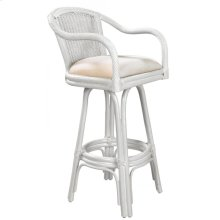 "Key Largo Indoor Swivel Rattan & Wicker 30"" Bar Stool in Whitewash Finish with Cushion"