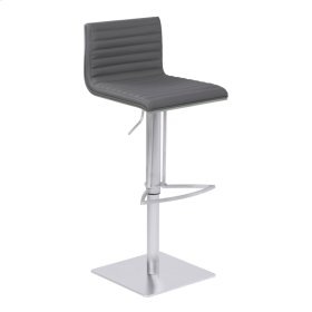 Armen Living Cafe Adjustable Metal Barstool in Gray Faux Leather with Brushed Stainless Steel Finish and Gray Walnut Wood Back