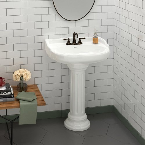"Victoria Pedestal Lavatory - 4"" Centerset / White"