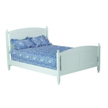 Cottage Bed, 2 Positions With Wood Rails And Wooden Slats