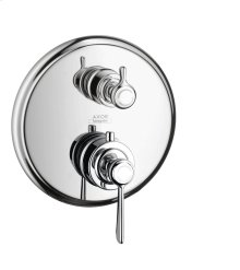Chrome Thermostatic mixer for concealed installation with shut-off valve with lever handle