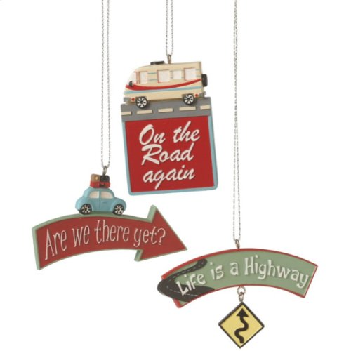 Travel Quote Ornament (3 asstd)