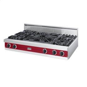 "Apple Red 48"" Open Burner Rangetop - VGRT (48"" wide, four burners 24"" wide wok/cooker)"