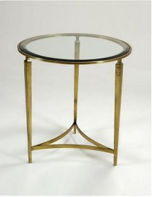 Glazed Sherwood Brass Tripod Occasional Table, Inset Beveled Glass Top