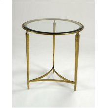 Glazed Sherwood Brass Tripod Occasional Table, Inset Beveled Glass Top