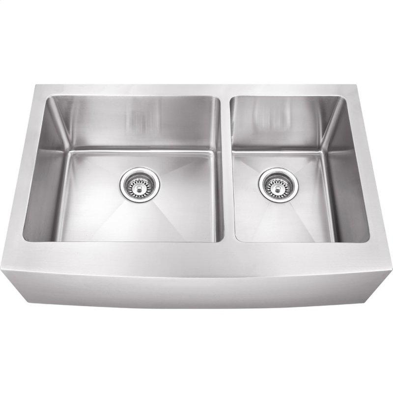 Stainless Steel 16 Gauge Fabricated Farmhouse Kitchen Sink Unequal Bowls 304 Ss With