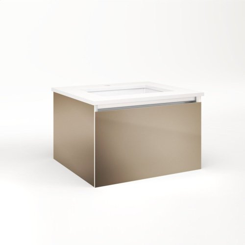 "Cartesian 24-1/8"" X 15"" X 21-3/4"" Single Drawer Vanity In Satin Bronze With Slow-close Plumbing Drawer and No Night Light"