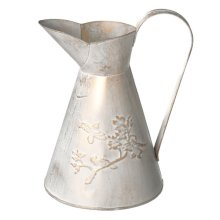 White and Gold Embossed Bird Pitcher Vase