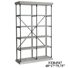 Hanover Metal and White Wood Bookshelf