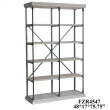 Hanover Metal and White Wood Bookshelf