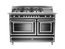 Matt-black 48 6-Burner, Gas Double Oven