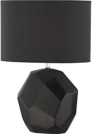 Table Lamp, Black Ceramic Body/black Fabric,e27 Cfl 13w