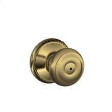 Georgian Knob Bed & Bath Lock - Antique Brass