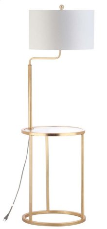 Crispin Floor Lamp Side Table - Gold Leaf Shade Color: Off-White
