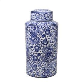 """White/blue Patterned Jar 16"""""""
