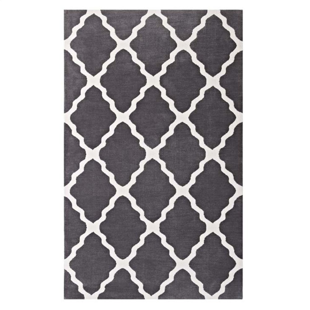 Marja Moroccan Trellis 8x10 Area Rug in Charcoal and Ivory