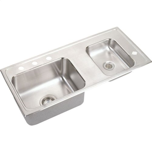 "Elkay Lustertone Classic Stainless Steel 37-1/4"" x 17"" x 6-1/2"", Double Bowl Drop-in Classroom ADA Sink"