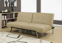 FUTON - SPLIT BACK CONVERTIBLE SOFA / TAUPE LEATHER-LOOK