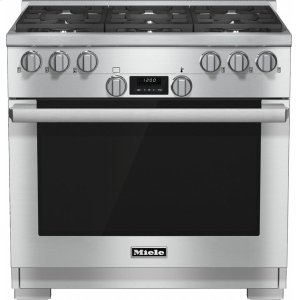 MieleHR 1134-1 LP 36 inch range All Gas with DirectSelect, Twin convection fans and M Pro dual stacked burners