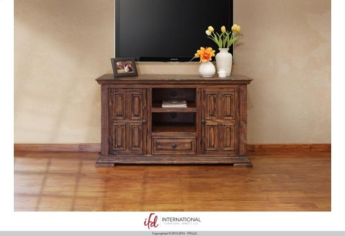 "83"" TV Stand w/3 glass doors, 2 wooden doors & 5 drawers*"