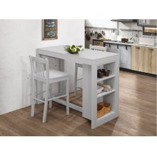 Ash Grey Counter Height Storage Table With Three Stools