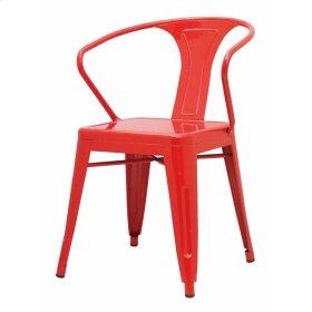 Metropolis Metal Arm Chair, Red