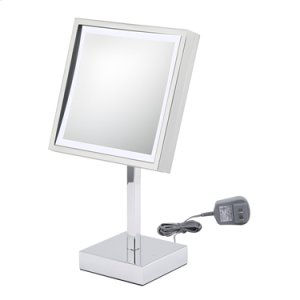 Brushed Nickel Square Lighted Free Standing Mirror