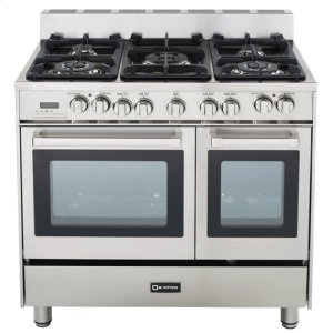 """VeronaStainless Steel 36"""" Dual Fuel Convection Range with Double Oven"""