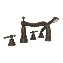 Tuscan Brass 4-Hole Deck Mounted Bathtub Filler With Handshower with Arcana Cross Handle