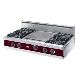 """Burgundy 42"""" Open Burner Rangetop - VGRT (42"""" wide, four burners 18"""" wide griddle/simmer plate)"""