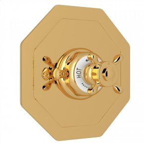 English Gold Perrin & Rowe Edwardian Octagonal Concealed Thermostatic Trim Without Volume Control with Edwardian Cross Handle