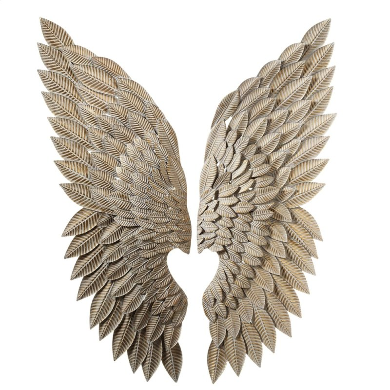 Whitewash Gold Angel Wing Wall Decor 2 Asstd
