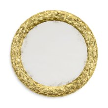 "Carved and Water Gilded 24"" Round Hanging Wall Mirror"