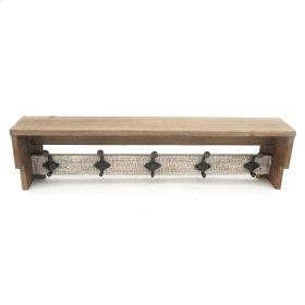 Wood Wall Shelf W/ 5 Hooks