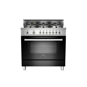 Bertazzoni36 6-Burner, Electric Self-Clean Oven Black