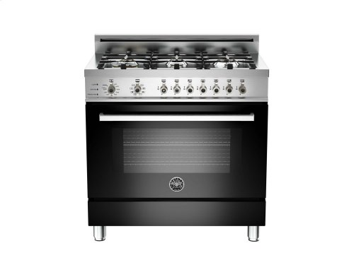 36 6-Burner, Electric Self-Clean Oven Black