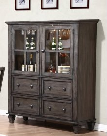 Sunset Trading Shades of Gray One Piece China Cabinet - Sunset Trading