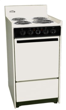 """Bisque 220v Electric Range In Slim 20"""" Width With Storage Compartment"""