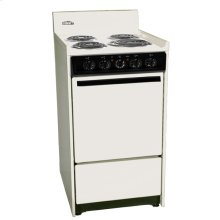 "Bisque 220v Electric Range In Slim 20"" Width With Storage Compartment"