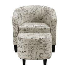 Barrel Chair & Ottoman - French Script