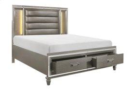 Eastern King Platform LED Bed with Footboard Storage