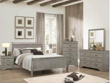 5 PC. Antique Gray Queen Size Sleigh Bed Suite