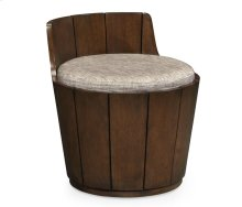 Swivel Walnut Storage Bucket Stool, Upholstered in COM