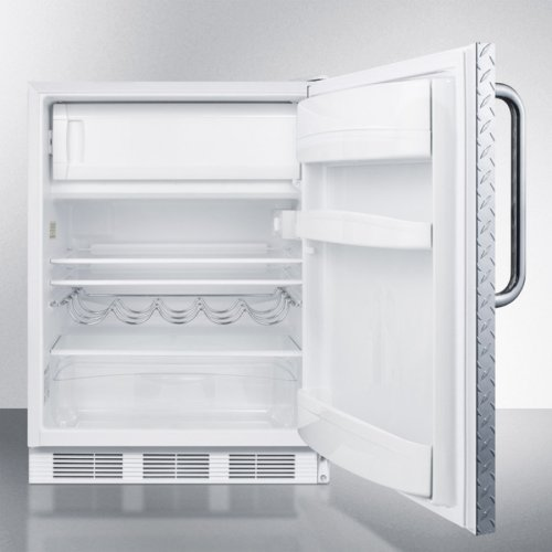 Built-in Undercounter Refrigerator-freezer for Residential Use, Cycle Defrost With A Diamond Plate Wrapped Door, Towel Bar Handle, and White Cabinet