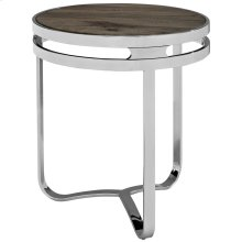 Provision Pine Wood and Stainless Steel Side Table in Brown